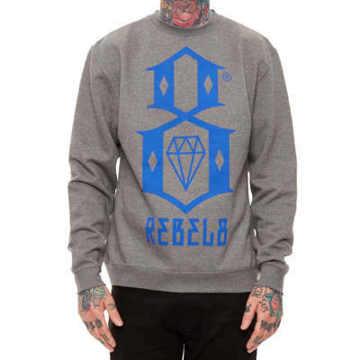 REBEL8 Sweater LOGO gunmetal grey/blue